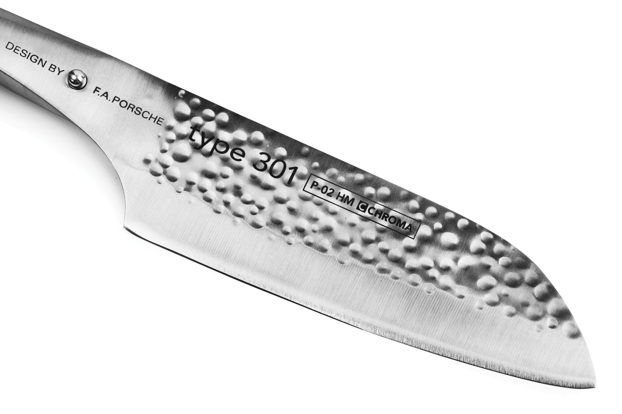 "Chroma P02 Type 301 Hammered Santoku Knife, 7.25"""